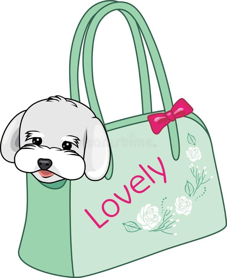 Modna przewożenie torba dla małych psów ilustracja wektor