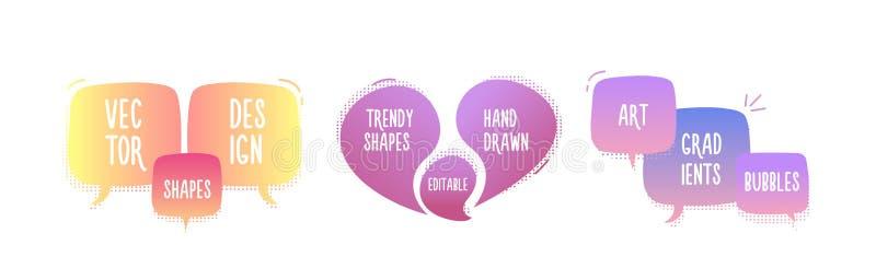 Modna ręka rysujący abstrakcjonistyczni geometryczni bąble Wektorowy doodle sztandar ustawiający dla twój teksta z różnorodnymi k royalty ilustracja