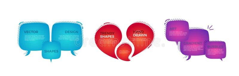 Modna ręka rysujący abstrakcjonistyczni geometryczni bąble Wektorowy doodle sztandar ustawiający dla twój teksta z różnorodnymi k ilustracji
