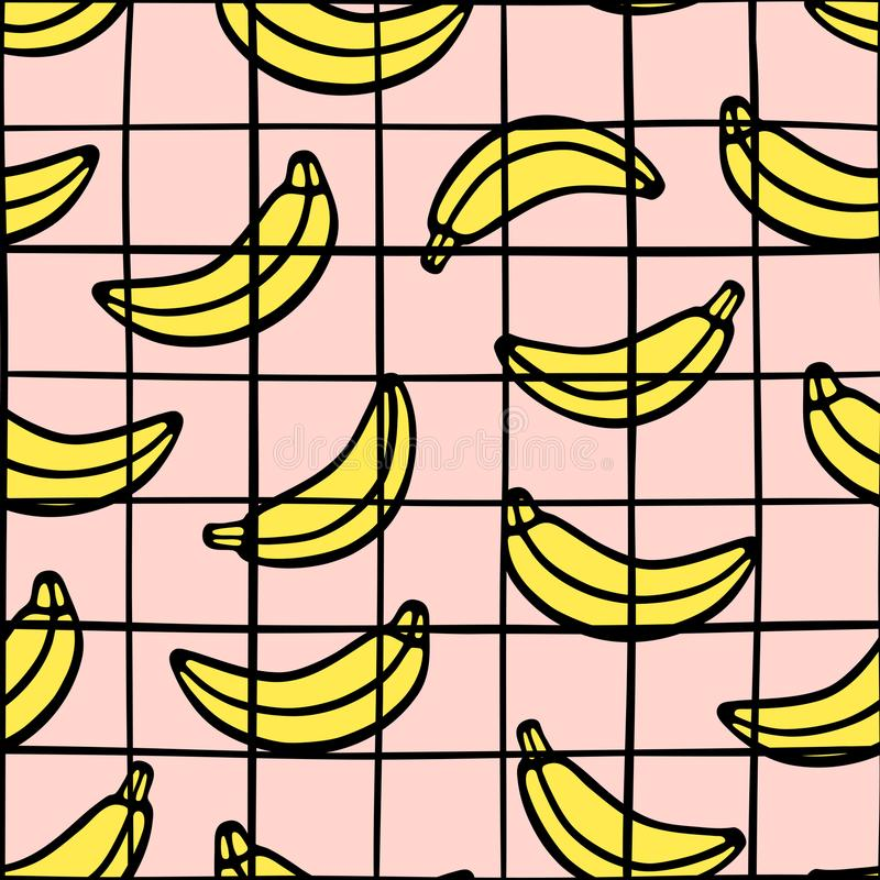 Modna w kratkę siatka i bananowy bezszwowy wzór Czarna ręka rysująca wykłada na różowym tle ilustracji
