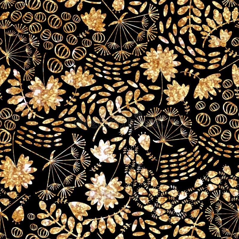 Modna złocista tekstura Wektorowy złocisty bezszwowy wzór, kwiecista tekstura z kwiatami i rośliny, zdjęcia stock