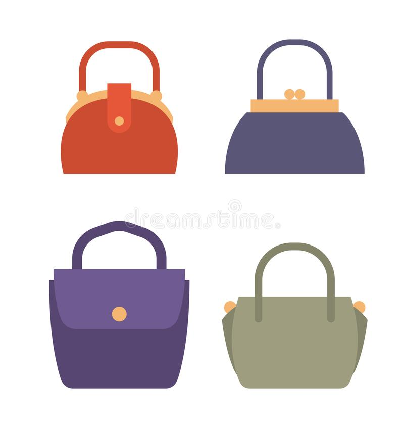 Modne Żeńskie torby Naturalny skóra set ilustracji
