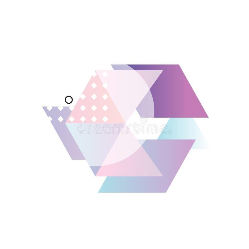 Modne abstrakcjonistyczne gradientowe geometryczne formy, kolorowy przedmiota projekt dla etykietki, prezentacja, plakat, sztanda royalty ilustracja