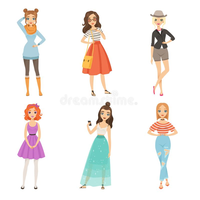 modne dziewczyny Kreskówka żeńscy charaktery w różnorodnych mod pozach ilustracji