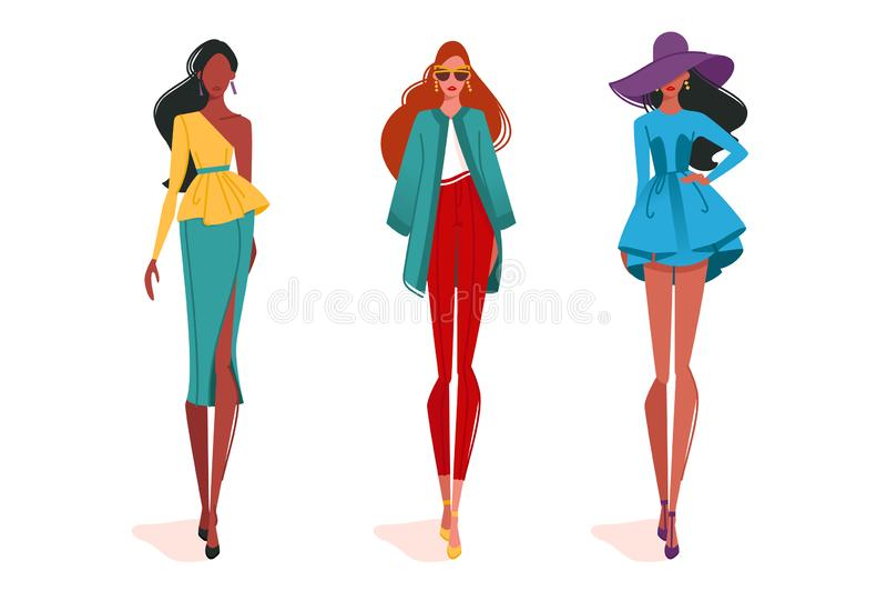Modne dziewczyny w ruchu, na pokazie mody ilustracja wektor
