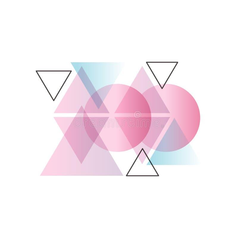 Modne gradientowe geometryczne formy kolorowy abstrakcjonistyczny projekt dla etykietki, prezentacja, plakat, sztandar lub karta  ilustracji
