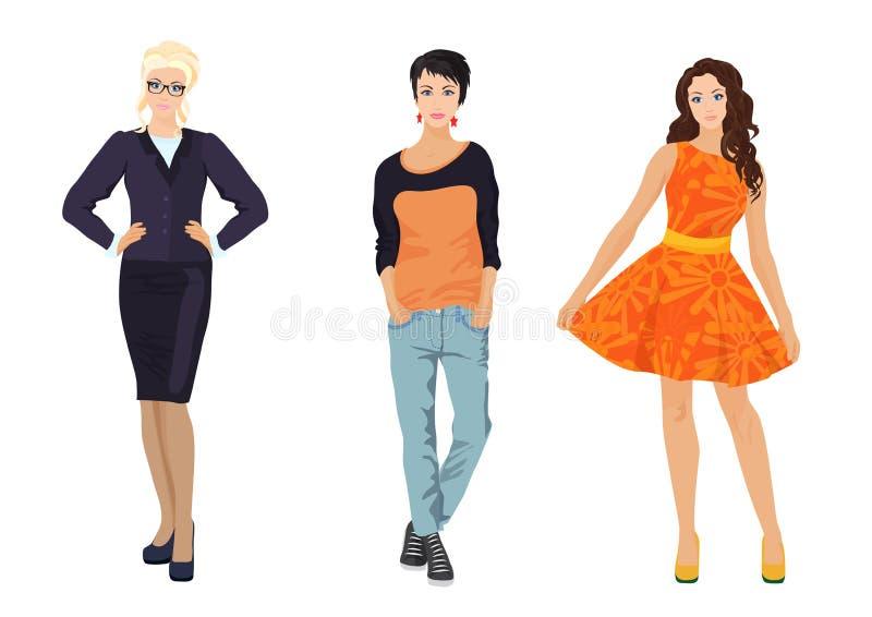 Modne kobiet dziewczyny w różnych smokingowych stylach Elegancki, biurowy i przypadkowy ulica styl, ilustracji