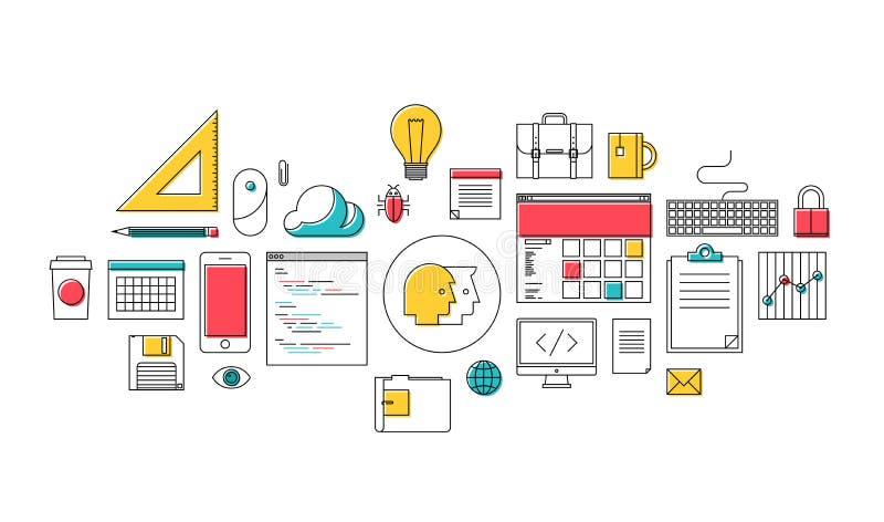Modne sieci programowania i projekta ikony ilustracji