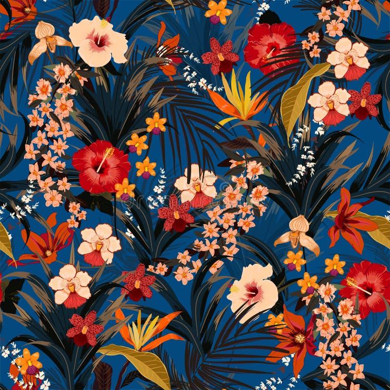 Modnego głębokiego lata tropikalny tło z dżungli roślinami Vecto ilustracja wektor