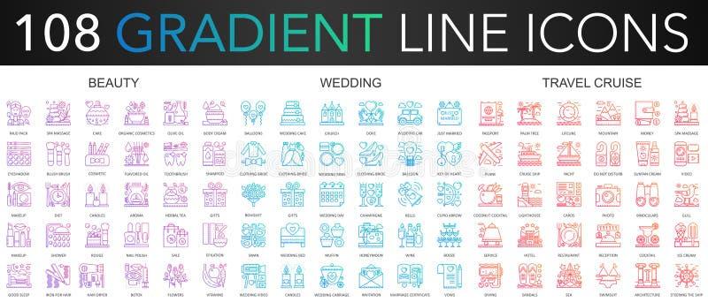 108 modnego gradientowego koloru kompleksu cienkich kreskowych ikon ustawiających piękno, ślub, podróż rejsu wektoru ilustracja ilustracji
