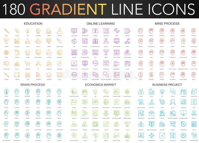180 modnego gradientowego wektoru cienkich kreskowych ikon ustawiających edukacja, online uczenie, móżdżkowy umysłu proces, bizne ilustracja wektor