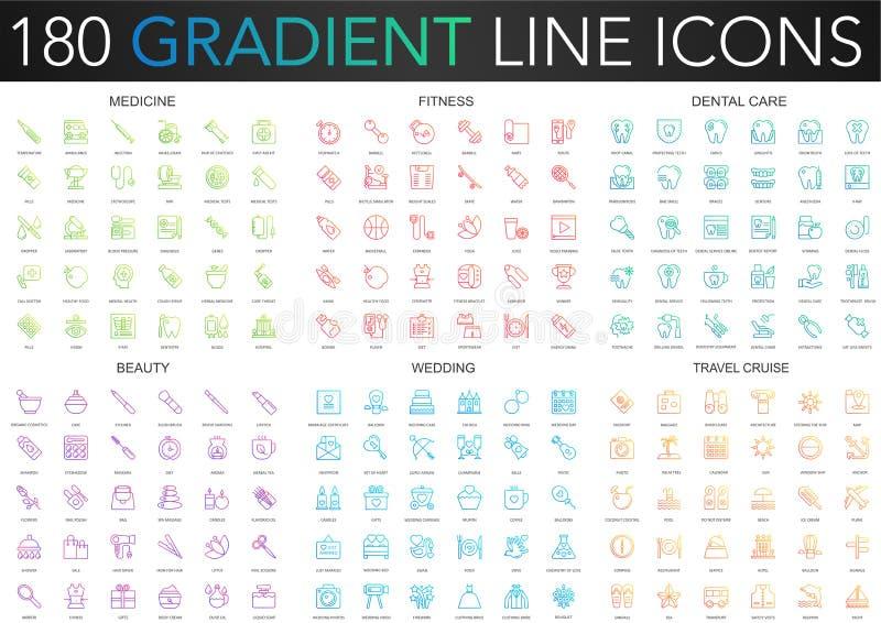180 modnego gradientowego wektoru cienkich kreskowych ikon ustawiających medycyna, sprawność fizyczna, stomatologiczna opieka, pi ilustracji