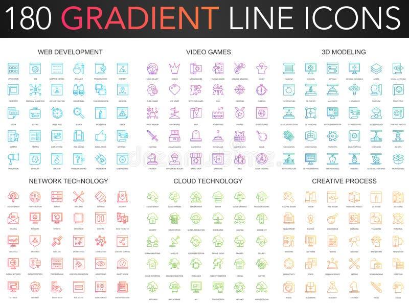 180 modnego gradientowego wektoru cienkich kreskowych ikon ustawiających sieć rozwój, gra wideo, 3d wzorowanie, sieci technologia ilustracji