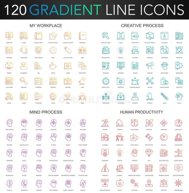 120 modnego gradientu stylu cienkich kreskowych ikon ustawiających mój miejsce pracy, kreatywnie proces, ludzka produktywność, um ilustracji