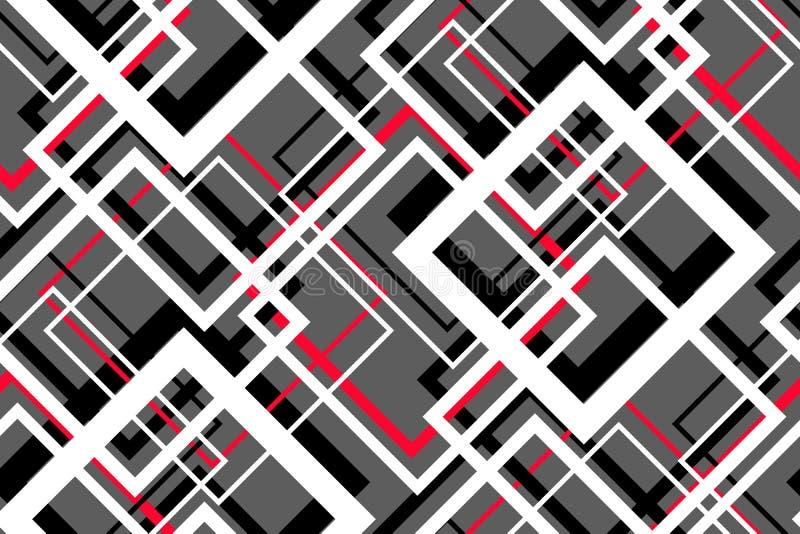 Modnego kontrasta geometryczny bezszwowy wzór ilustracji