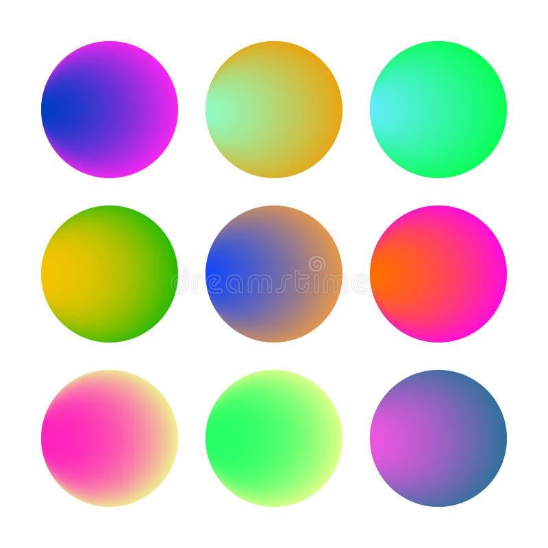Modnego miękkiego koloru round gradientowy ustawiający z abstrakcjonistycznymi tło ilustracja wektor