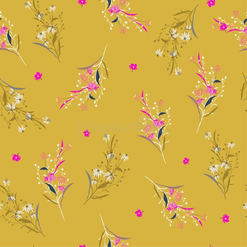 Modnego Pięknego lata jaskrawy ogrodowy Kwiecisty wzór w dużo ilustracji