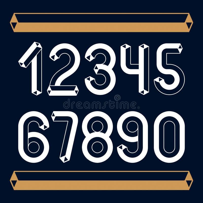 Modnego rocznika wektorowe cyfry, liczebniki inkasowi Retro liczby od (0) 9 mog? u?ywa? w sztuka plakata tworzeniu Robić używać ilustracji