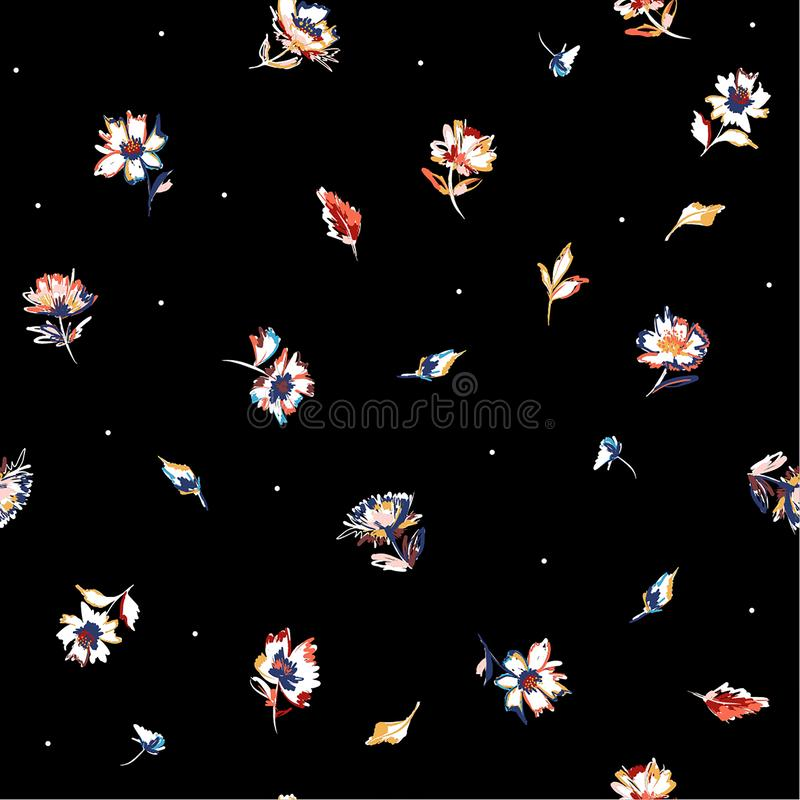 Modnego Wektorowego kwitnienie r?ki obrazu mu?ni?cia kwiatu ??kowego Bezszwowego deseniowego lata powt?rki przypadkowy projekt dl ilustracja wektor