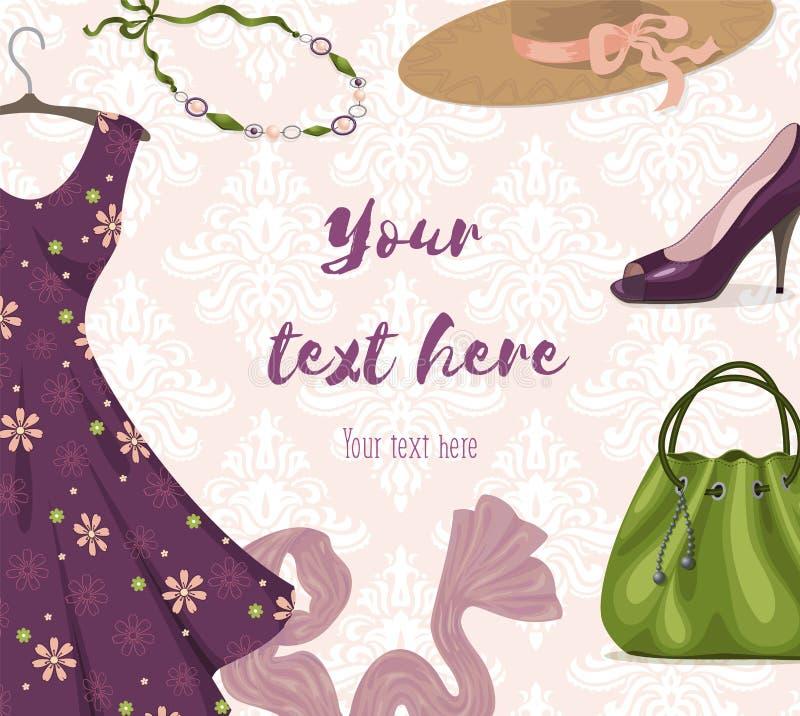 Modnej kobiety odzieżowy tło dla robić zakupy lub detaliczny biznesu royalty ilustracja