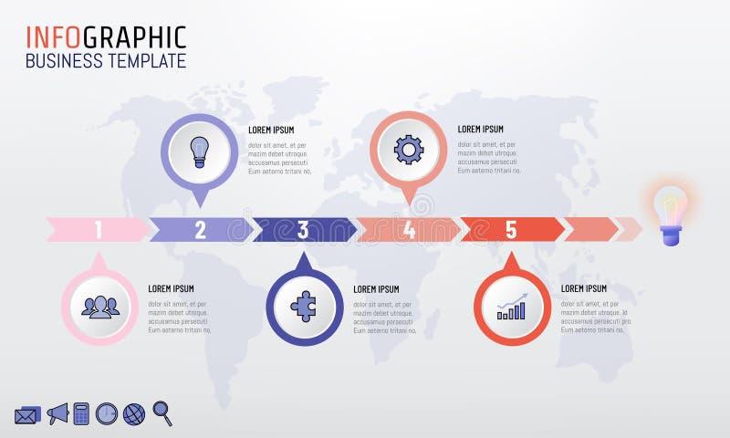Modnej kolor firmy linii czasu szablonu infographic projekt z 5 opcjami również zwrócić corel ilustracji wektora ilustracji