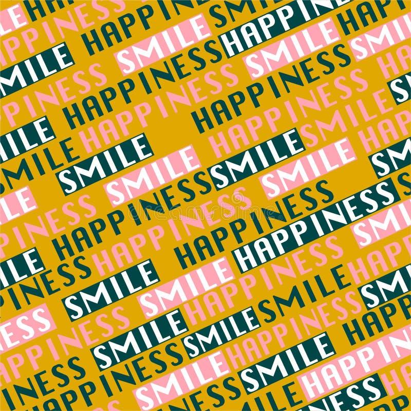 """Modnej kolor literówki przekątny linii bezszwowy deseniowy wektor w sformułowań """"szczęścia i uśmiechu"""" postitive trybowym projekc ilustracji"""