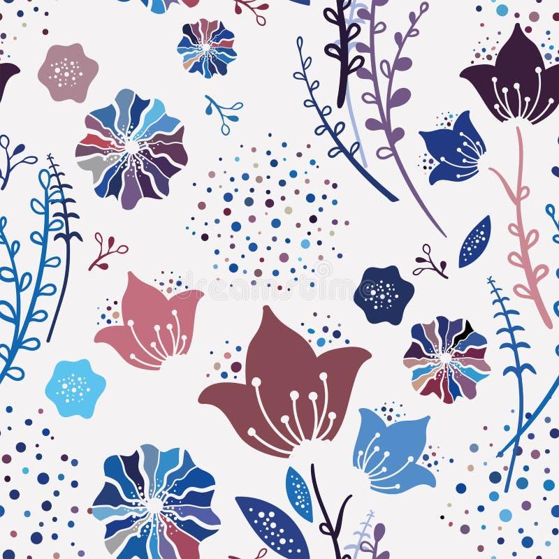 Modnej kolorowej wiosny Kwiecisty Bezszwowy wzór Handdrawn wektorowa ilustracja Naiwny dziecięcy Bluebell kwitnie na białym tle ilustracji