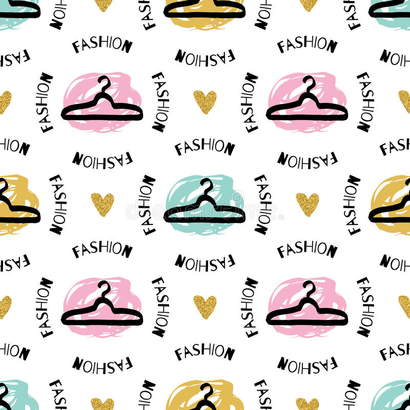 Modnej mody nakreślenia odzieżowego wieszaka bezszwowy deseniowy Artystyczny graficzny projekt royalty ilustracja