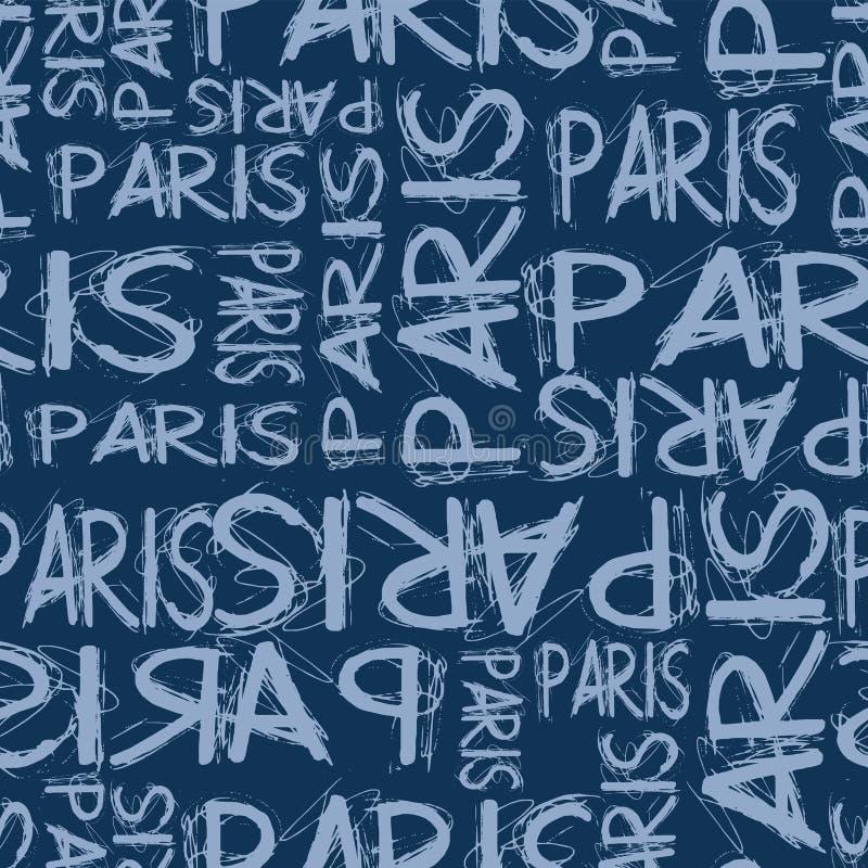Modnej mody Paris teksta projekta wzoru bezszwowa marynarka wojenna royalty ilustracja