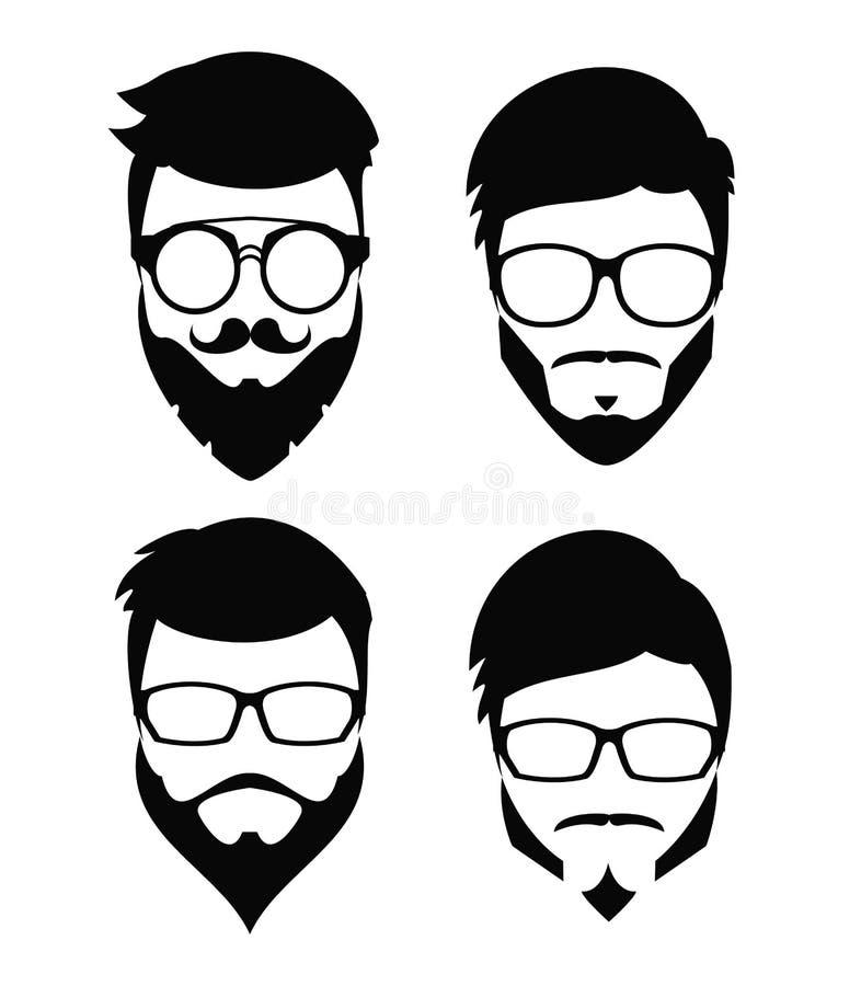 Modniś brody akcesoria i włosy ilustracja wektor