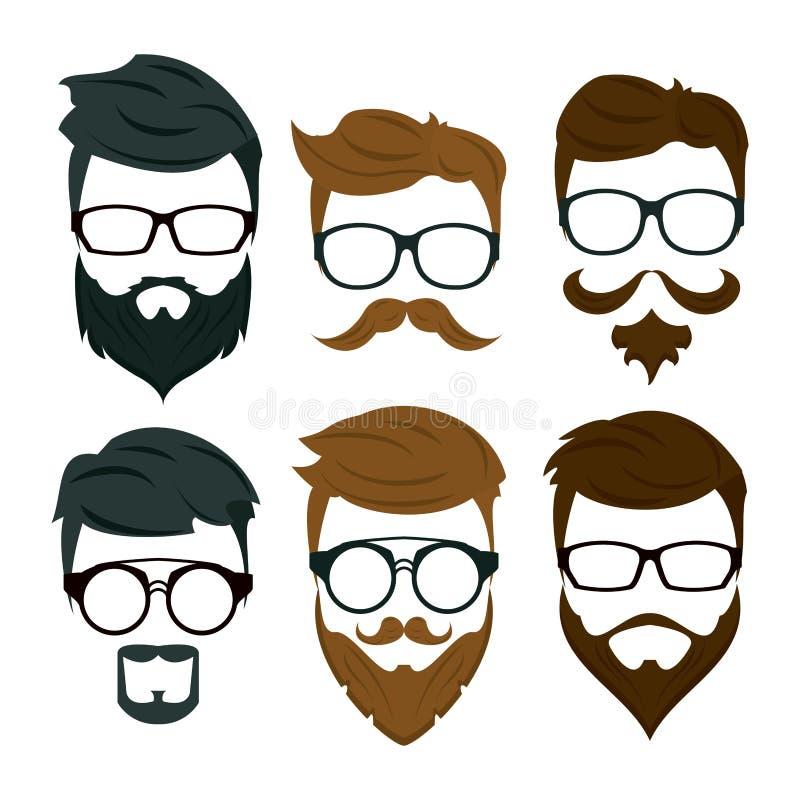 Modniś brody akcesoria i włosy ilustracji