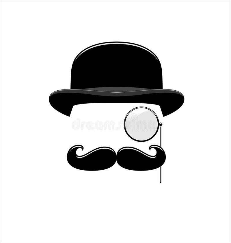 Modniś Czarny I Biały monocle wąsy kapelusz ilustracji