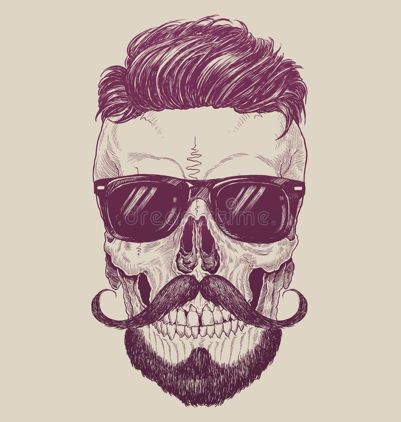 Modniś czaszka z okularami przeciwsłonecznymi, modnisia włosy i wąsy, ilustracja wektor