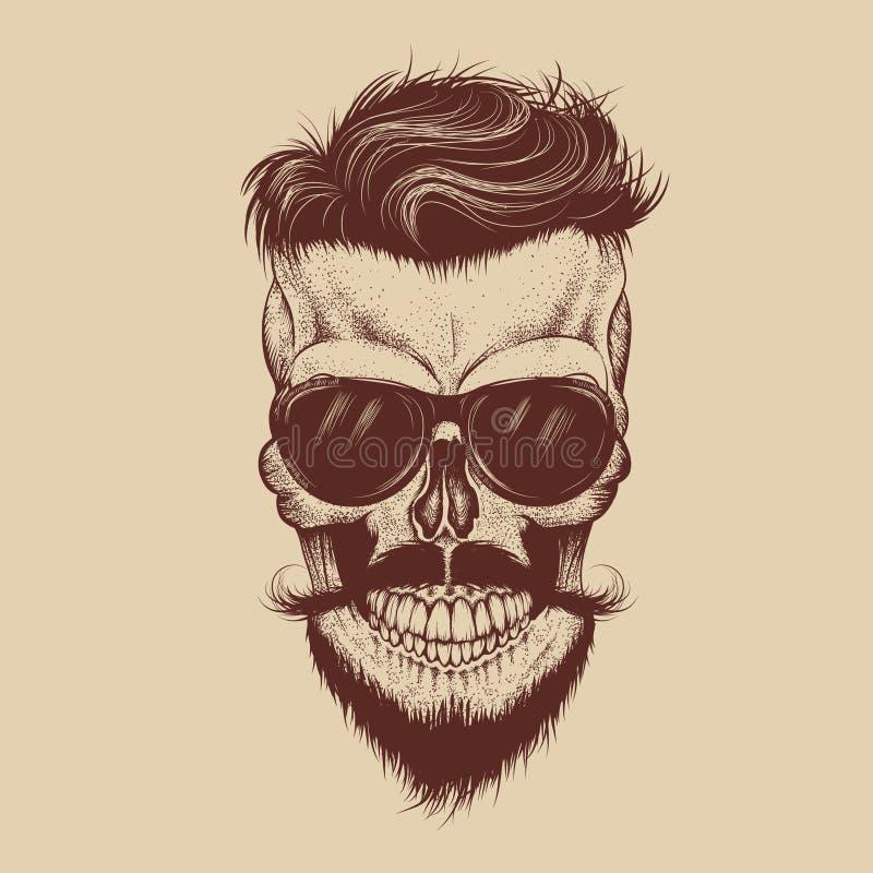Modniś czaszka z okularami przeciwsłonecznymi, wąsy i brodą, royalty ilustracja