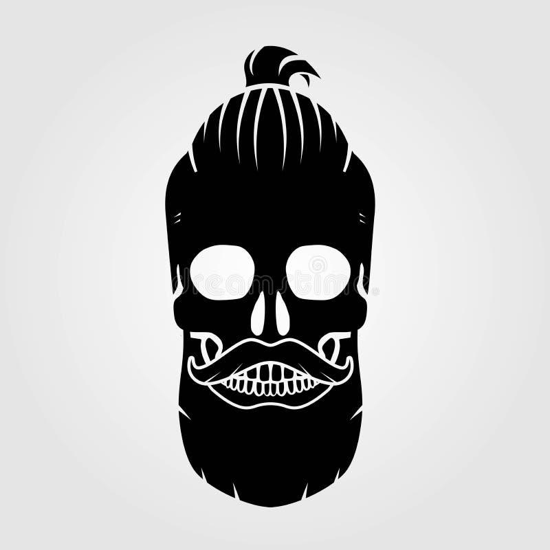 Modniś czaszka z wąsy i chlebem ilustracji