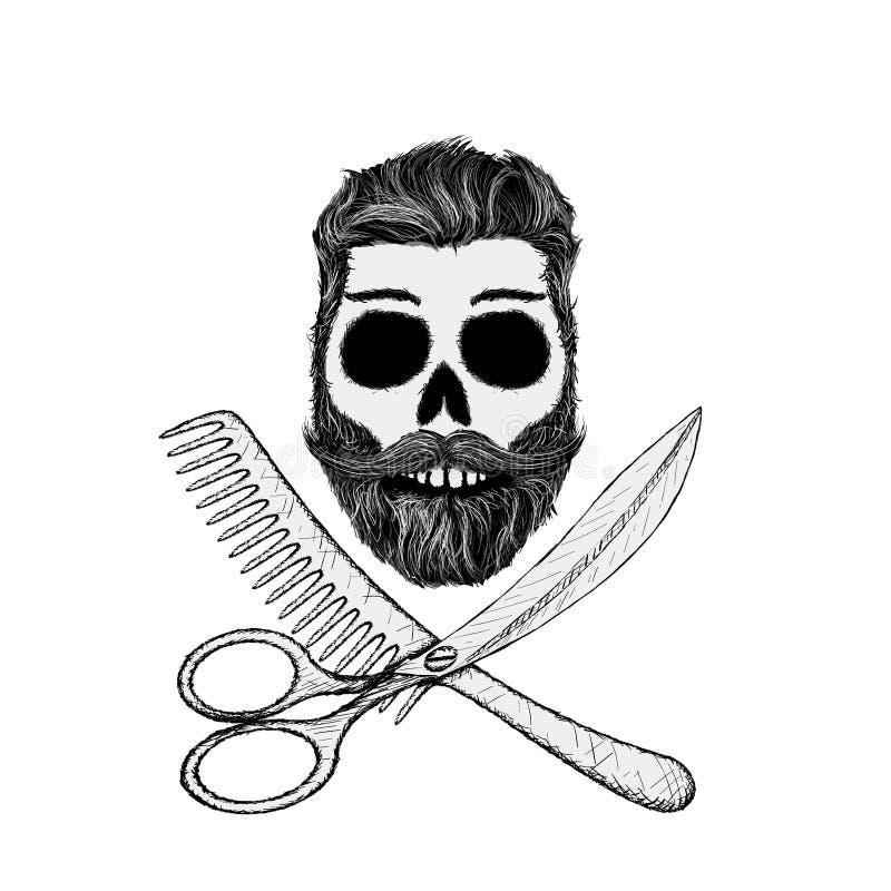 Modniś czaszka z włosianym stylem, brodą i wąsy, zapas ilustracji