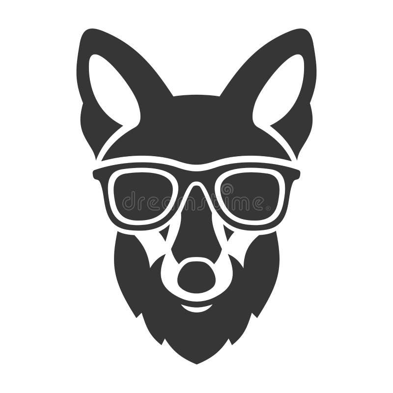Modniś Czerwony Fox Stawia czoło w szkłach wektor royalty ilustracja