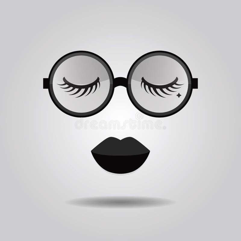 Modniś damy wargi i duzi modni okregów okulary przeciwsłoneczni z zamkniętą oko ikoną royalty ilustracja