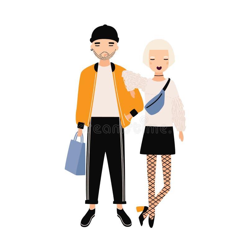Modniś dziewczyna i chłopiec ubieraliśmy w modnej odzieżowej pozyci wpólnie Nowożytny chłopak i dziewczyna postać z kreskówki dzi ilustracja wektor
