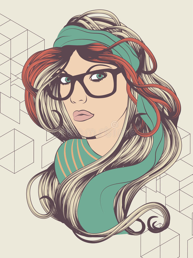 Modniś dziewczyna z szkłami ilustracji