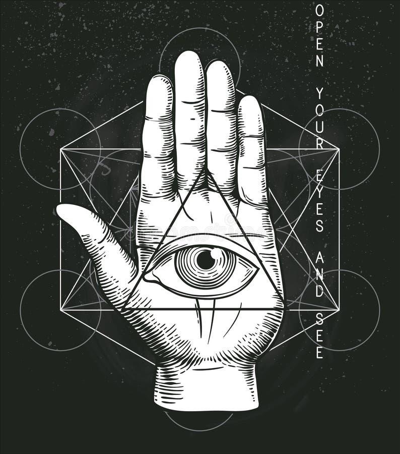 Modniś ilustracja z świętą geometrią ilustracja wektor