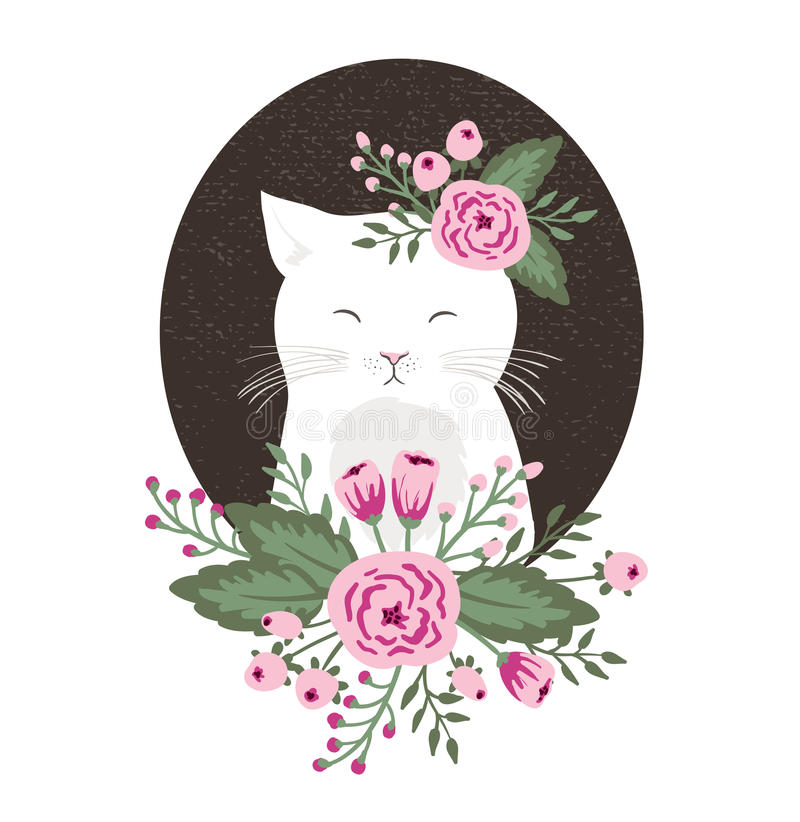Modniś kiciunia z kwiatami na rocznik textured tle, kot ręka rysująca royalty ilustracja