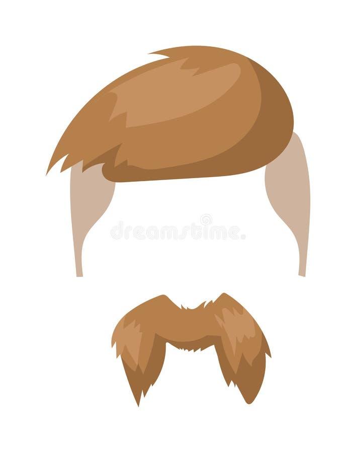 Modniś mody mężczyzna włosy i broda wąsy charakteru wektoru ilustracja ilustracja wektor