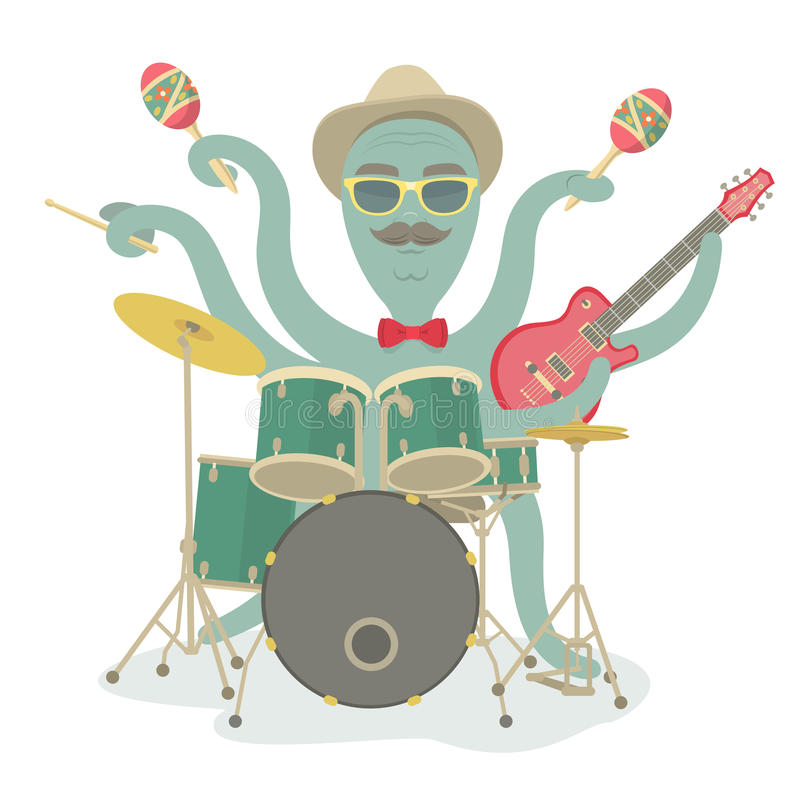 Modniś ośmiornicy sztuki muzyka ilustracja wektor