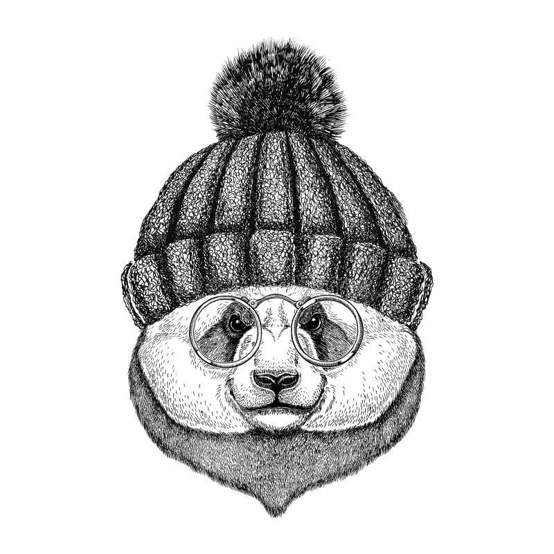 Modniś pandy bambusa niedźwiedzia Śliczny wizerunek dla tatuażu, logo, emblemat, odznaka projekt royalty ilustracja