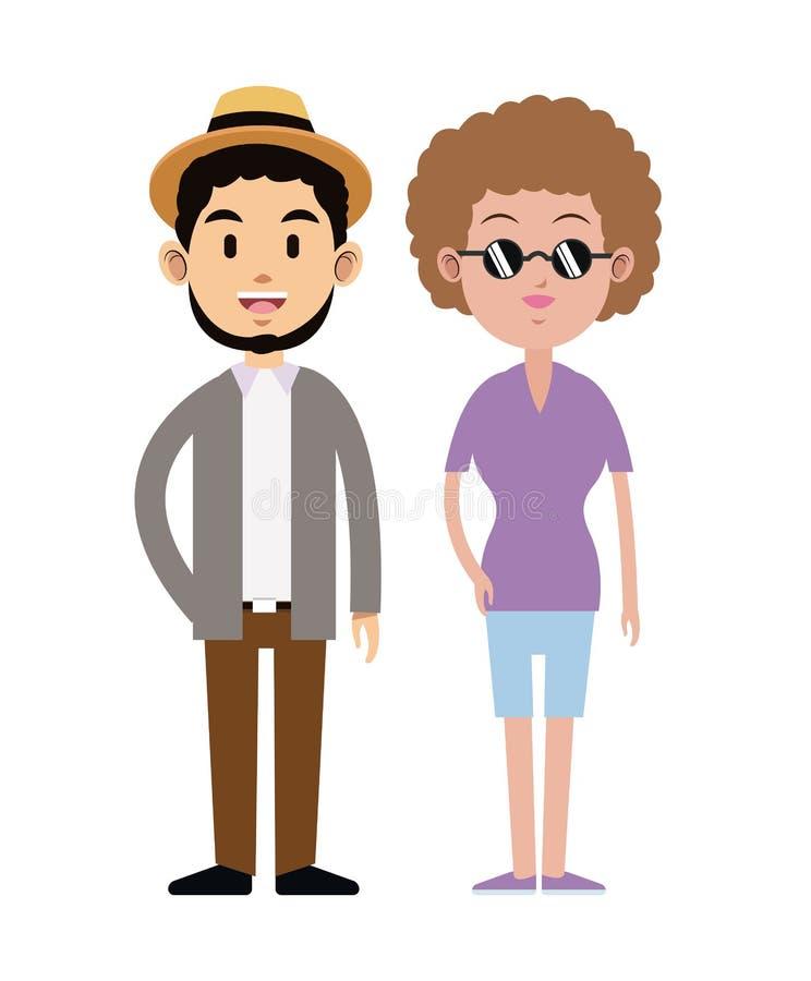 Modniś pary kapeluszowi okulary przeciwsłoneczni zwierają brodę ilustracja wektor