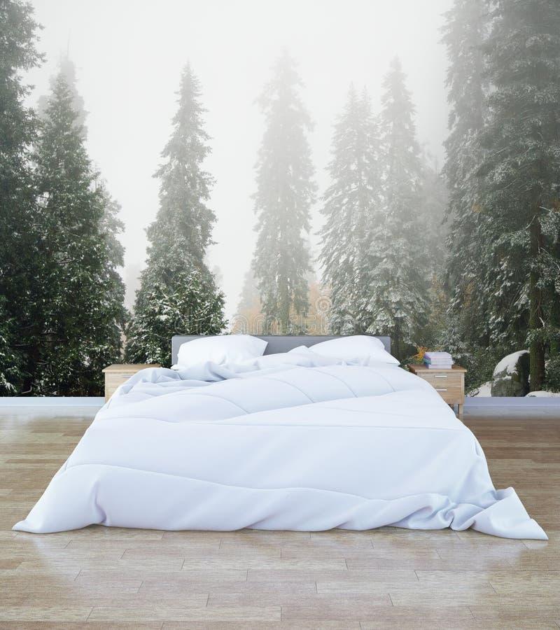 Modniś sypialni wnętrze ilustracji
