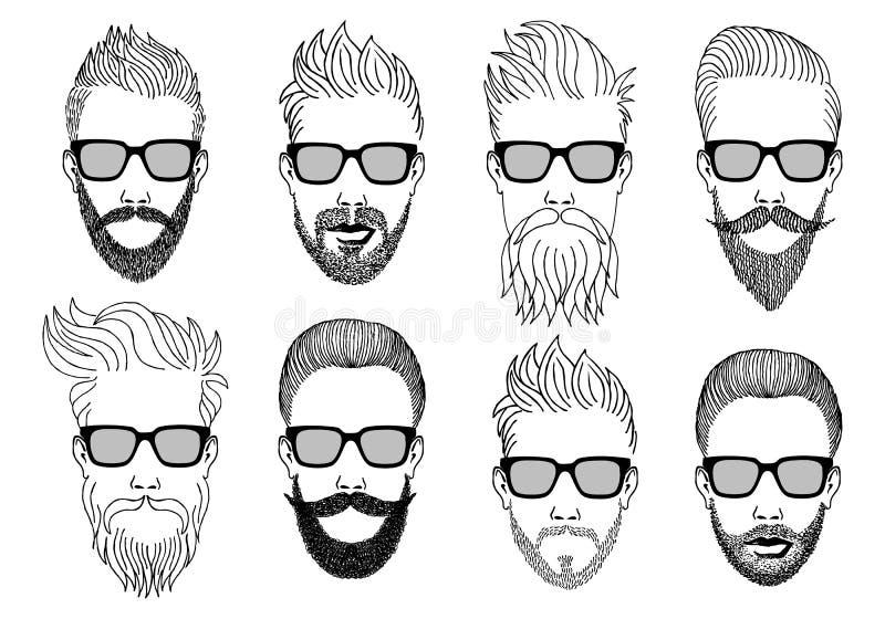 Modniś twarze z brodą, wektoru set royalty ilustracja