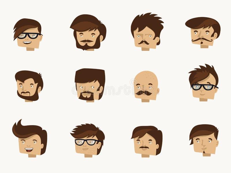 12 modniś twarzy - płaska charakteru projekta kolekcja royalty ilustracja