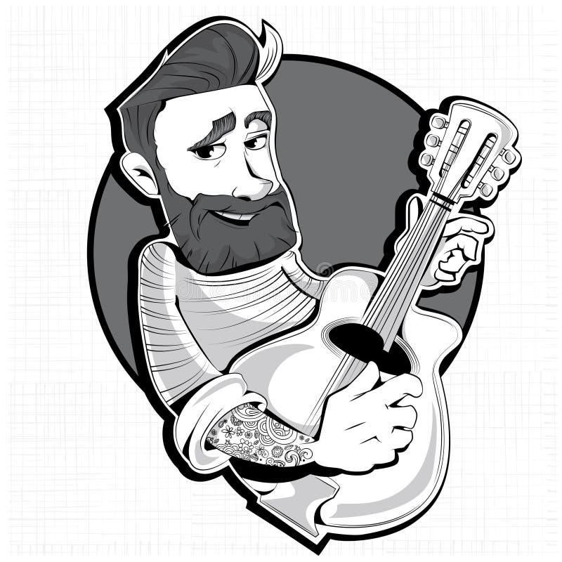 Modniś z gitarą Męski charakter ilustracja wektor